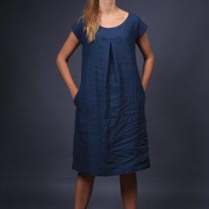 rochie-medie-din-in albastra