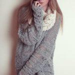 Pulover tricotat negru larg7