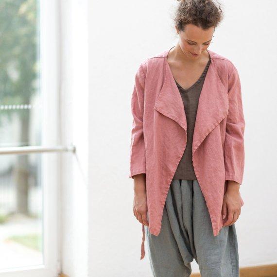 Jacheta-sacou din in de culoare roz